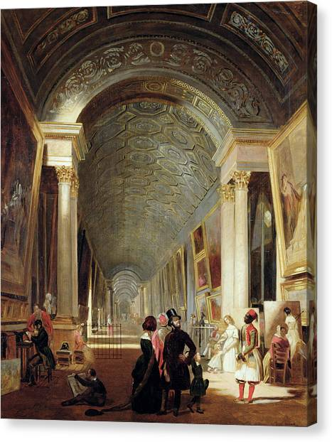 The Louvre Canvas Print - View Of The Grande Galerie Of The Louvre by Patrick Allan Fraser