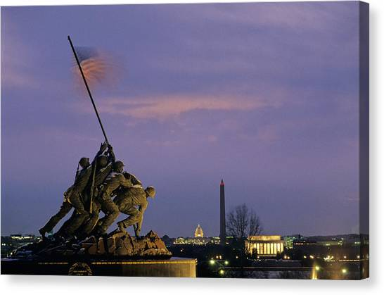 Capitol Building Canvas Print - View Of The Iwo Jima Monument by Kenneth Garrett