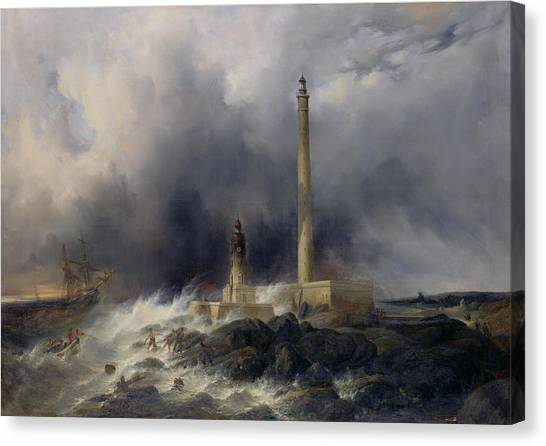 1876 Canvas Print - View Of The Lighthouse At Gatteville by Jean Louis Petit