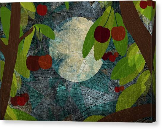 Night Canvas Print - View Of The Moon And Cherries Growing On Trees At Night by Jutta Kuss