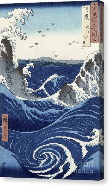 Water Canvas Print - View Of The Naruto Whirlpools At Awa by Hiroshige