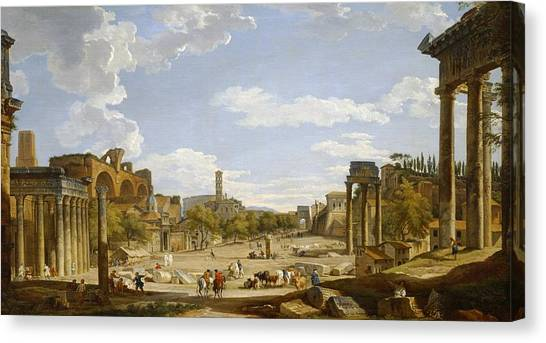 The Colosseum Canvas Print - View Of The Roman Forum by Giovanni Paolo Panini