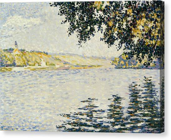Divisionism Canvas Print - View Of The Seine At Herblay by Paul Signac