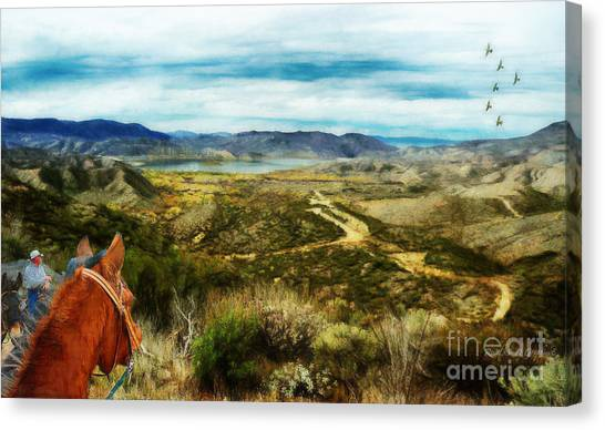 Canvas Print featuring the digital art View Of Vail Lake On Horseback by Rhonda Strickland