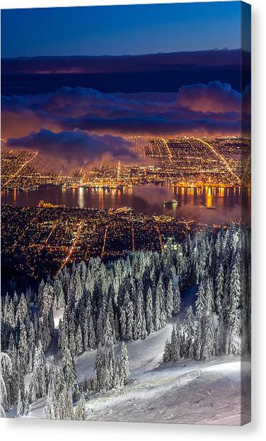 View Of Vancouver From Grouse Mountain At Sunset Canvas Print