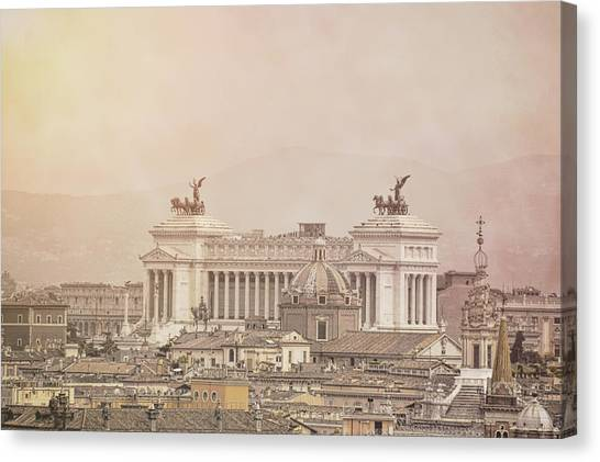 View Of Vittoriano In Rome Canvas Print by JAMART Photography