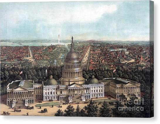 Smithsonian Institute Canvas Print - View Of Washington Dc by E Sachse