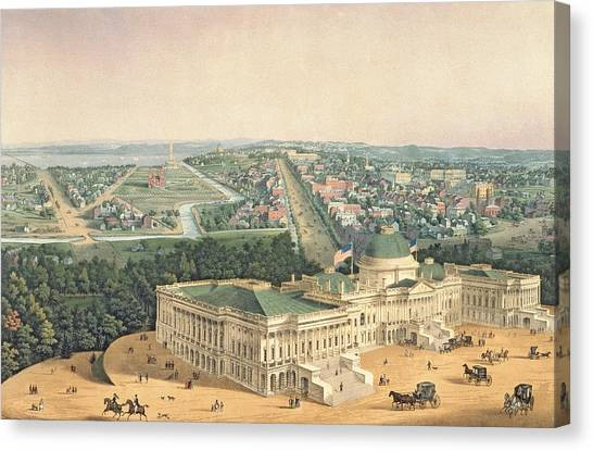 U. S. Presidents Canvas Print - View Of Washington Dc by Edward Sachse