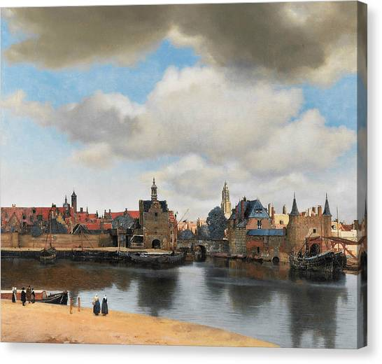 Baroque Art Canvas Print - View On Delft by Jan Vermeer