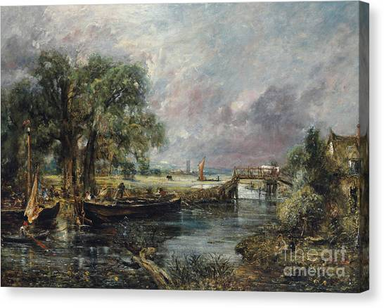 Dedham Canvas Print - View On The Stour Near Dedham by John Constable