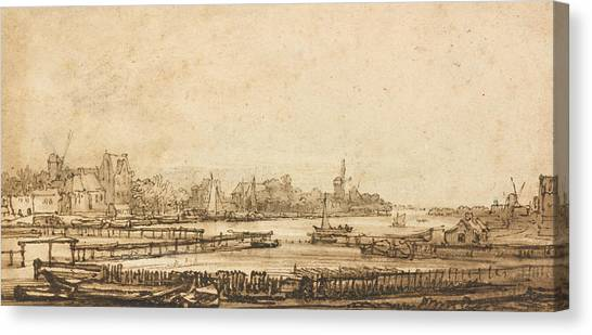 Baroque Canvas Print - View Over The Amstel From The Rampart by Rembrandt