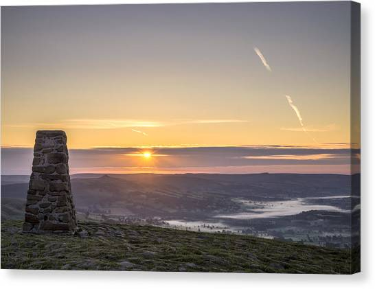 View Over The Hope Valley From Mam Tor At Dawn Canvas Print