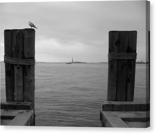 View Toward Statue Of Liberty In Nyc Canvas Print