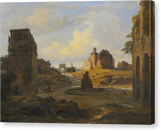The Colosseum Canvas Print - View Towards Forum Romanum From The Colosseum by Thorald Laessoe