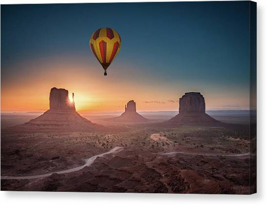Viewing Sunrise At Monument Valley Canvas Print