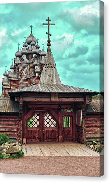 views of Holy gates and Church of the Intercession of the blessed virgin Mary Canvas Print