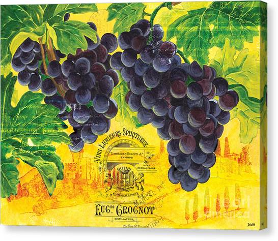 Red Wine Canvas Print - Vigne De Raisins by Debbie DeWitt