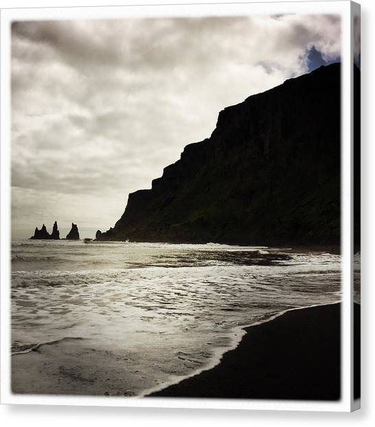 Beach Cliffs Canvas Print - Vik Beach Reynisdrangar Iceland by Matthias Hauser