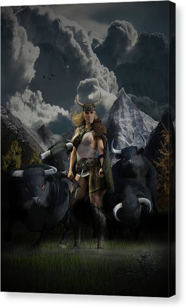 Viking Gefjon Canvas Print