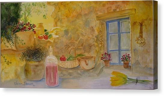 Villa With Still Life Canvas Print by Vivian Larson