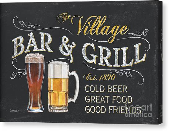 Pub Canvas Print - Village Bar And Grill by Debbie DeWitt