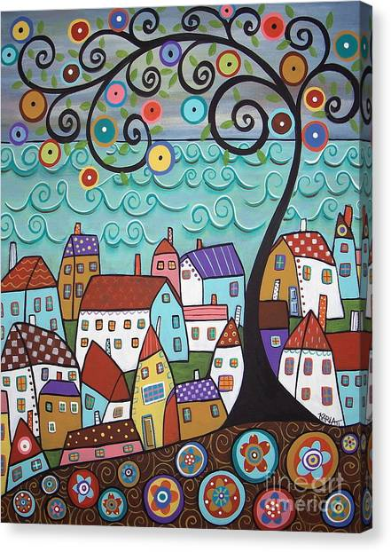 Folk Art Canvas Print - Village By The Sea by Karla Gerard