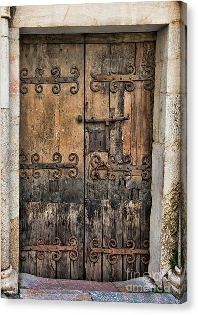 Village Chateau French Old Ancient Door Color  Canvas Print