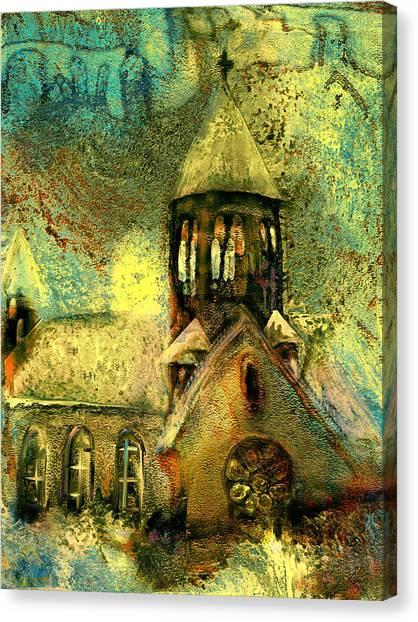 Village Church Canvas Print by Anne Weirich