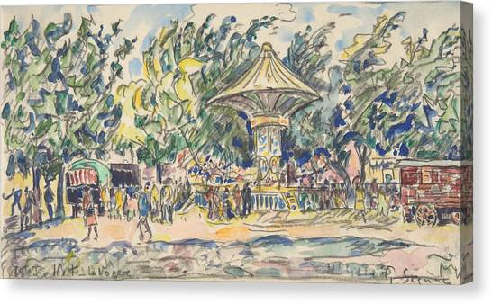Divisionism Canvas Print - Village Festival by Paul Signac