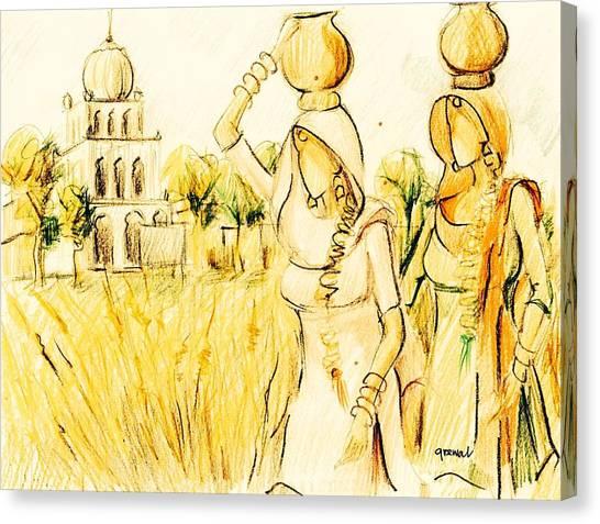 Sikh Art Canvas Print - Punjabi Village Girls  by Sukhpal Grewal
