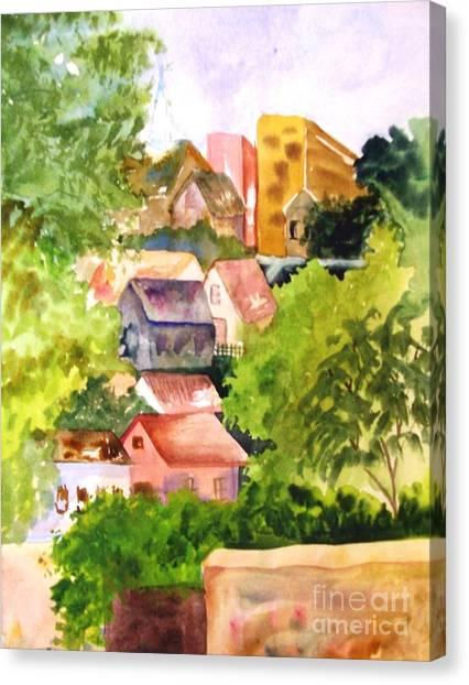 Village Hillside Canvas Print by Sandi Stonebraker