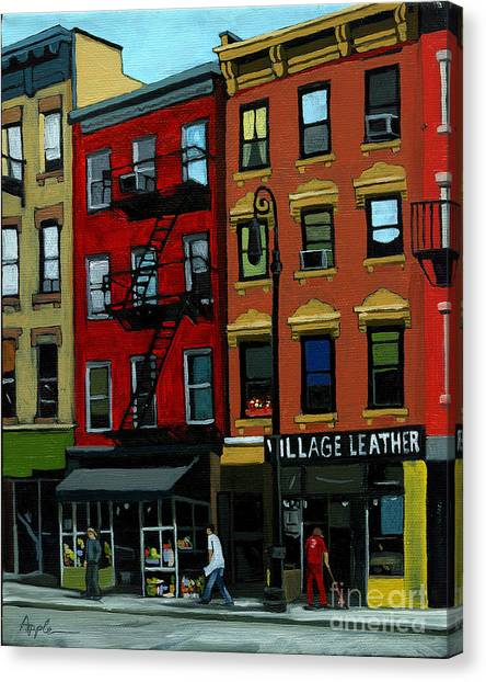Village Leather - New York Cityscape Canvas Print by Linda Apple