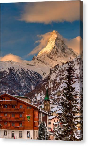 Village Of Zermatt With Matterhorn Canvas Print