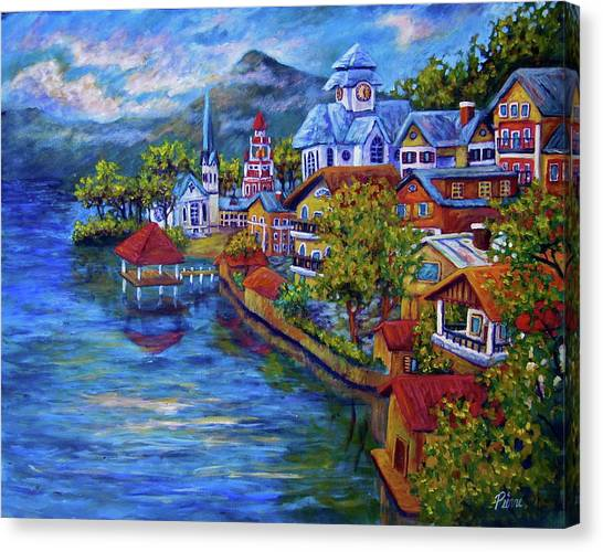 Village On The Lake Canvas Print