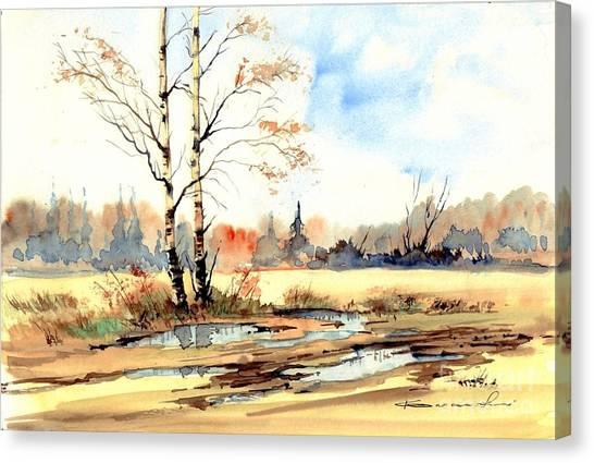 Robins Canvas Print - Village Scene I by Suzann's Art