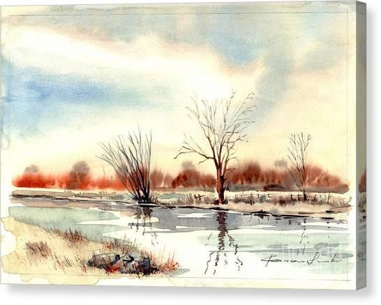 Robins Canvas Print - Village Scene II by Suzann's Art