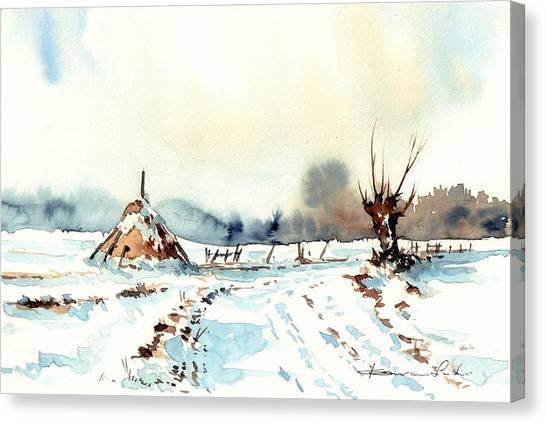 Sparrows Canvas Print - Village Scene Vii by Suzann's Art