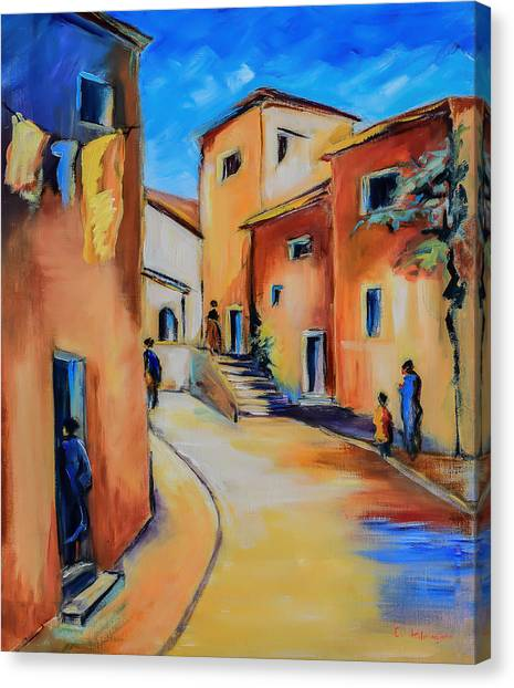 Fauvism Canvas Print - Village Street In Tuscany by Elise Palmigiani