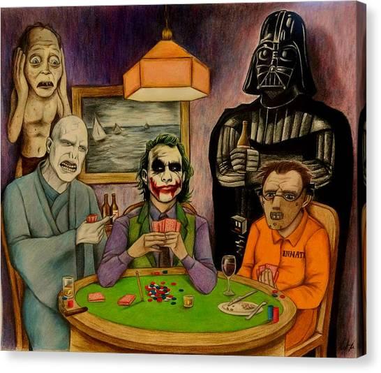 Silence Of The Lambs Canvas Print - Villains Playing Poker by Seth Malin
