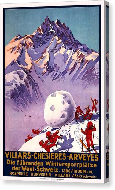 Snowball Canvas Print - Villars - Chesieres - Arveyes - Retro Travel Poster - Vintage Poster by Studio Grafiikka
