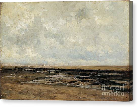 Villerville Beach In Normandy Canvas Print