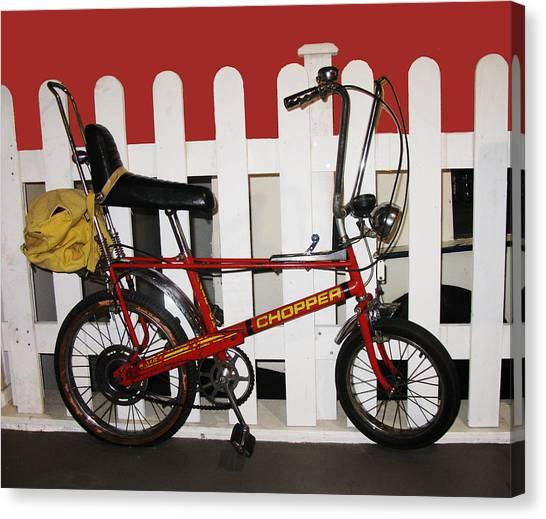 Vintage 1970s Bike With Rucksack  Canvas Print