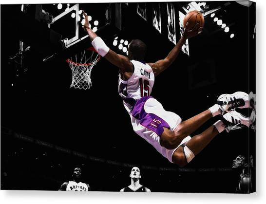 Toronto Raptors Canvas Print - Vince Carter Taking Flight by Brian Reaves