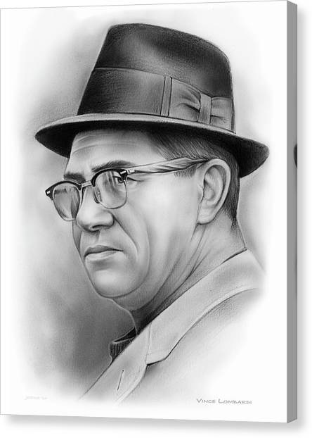 Nfl Canvas Print - Vince Lombardi by Greg Joens