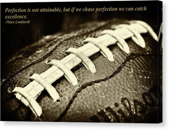 Vince Lombardi Perfection Quote Canvas Print