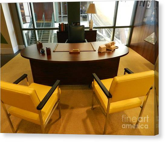 Reggie White Canvas Print - Vince Lombardi's Desk At Packers Hof by Snapshot Studio