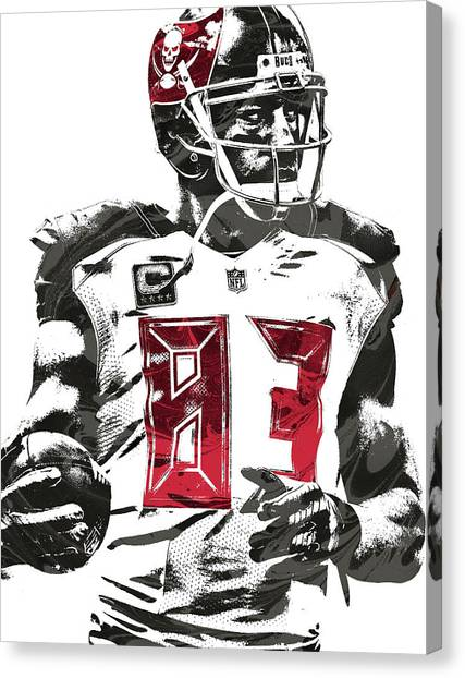 Tampa Bay Buccaneers Canvas Print - Vincent Jackson Tampa Bay Buccaneers Pixel Art by Joe Hamilton