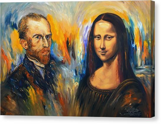 Vincent Meets Mona Lisa Xl 1 Canvas Print by Peter Nottrott