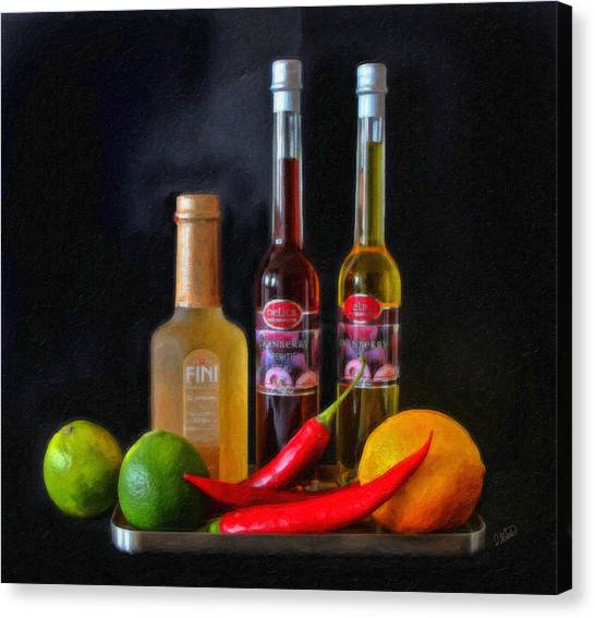Salad Dressing Canvas Print - Vinegar Oil Fruit And Peppers by Dean Wittle