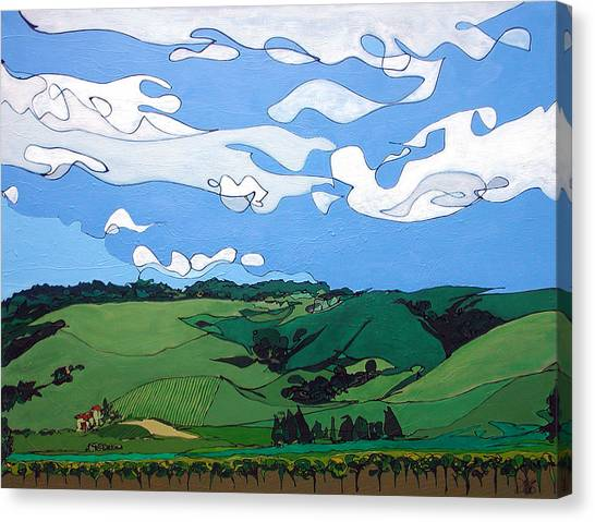 Canvas Print featuring the painting Vineyard Landscape 1 by John Gibbs